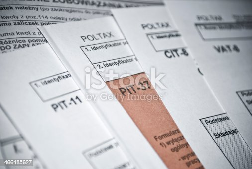 istock Blank income tax forms 466485627
