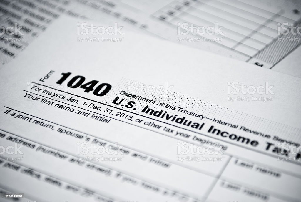 Blank income tax forms stock photo