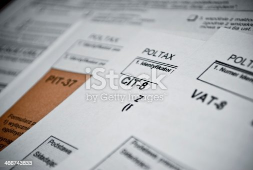 istock Blank income tax forms 466743833