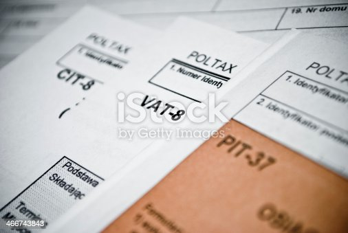 istock Blank income tax forms 466743843