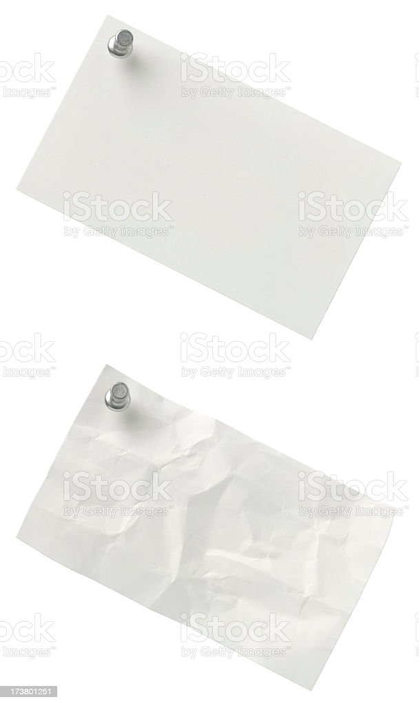 Blank index cards on white with push-pin in upper corner. royalty-free stock photo