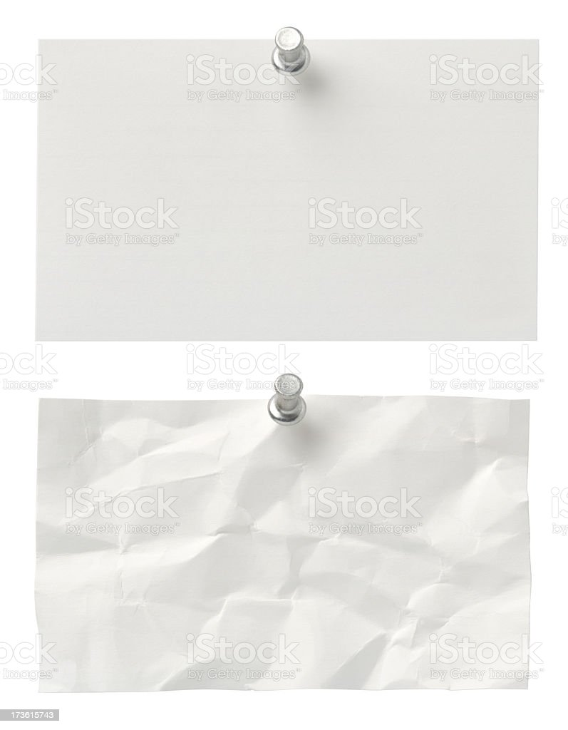 Blank index cards on white with push-pin. royalty-free stock photo