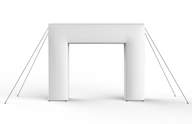 blank inflatable square arch tube or event entrance gate. 3d render illustration. - totem fair foto e immagini stock