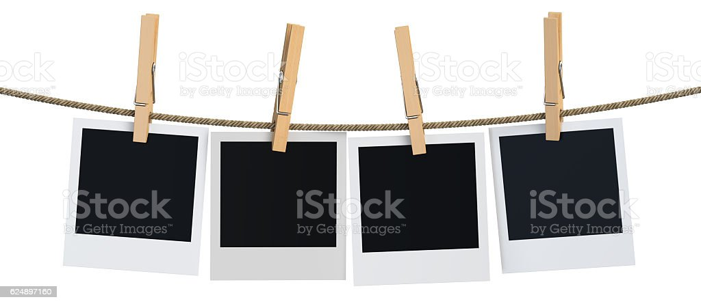 Blank instant photo hanging on the clothesline, 3D rendering stock photo