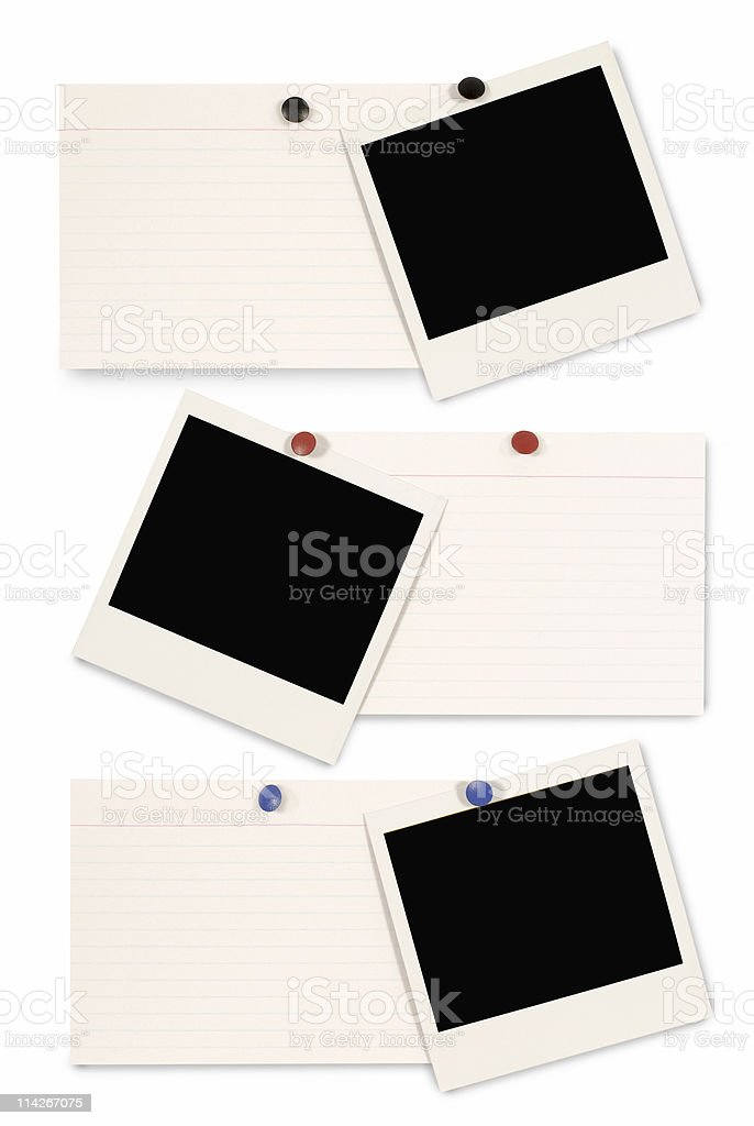 Blank instant picture prints with index cards royalty-free stock photo
