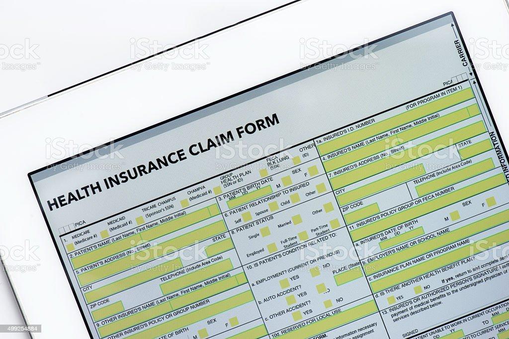 Formulário de reivindicação do seguro em branco - foto de acervo