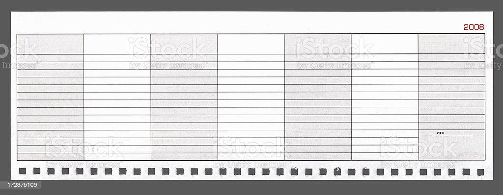 Blank international week calendar 2008 isolated  XXL stock photo
