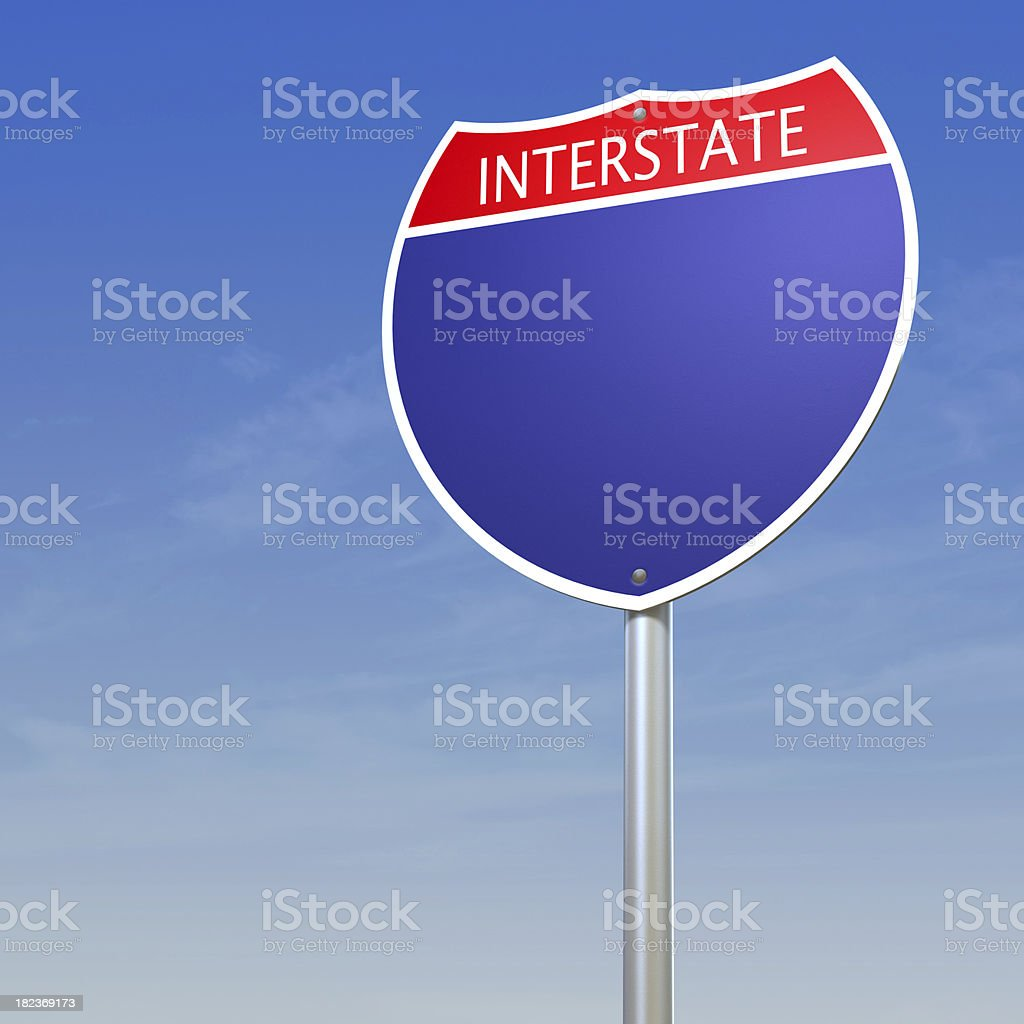 Blank Interstate Sign royalty-free stock photo