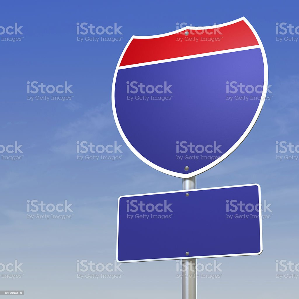 Blank Interstate Sign with clipping path stock photo
