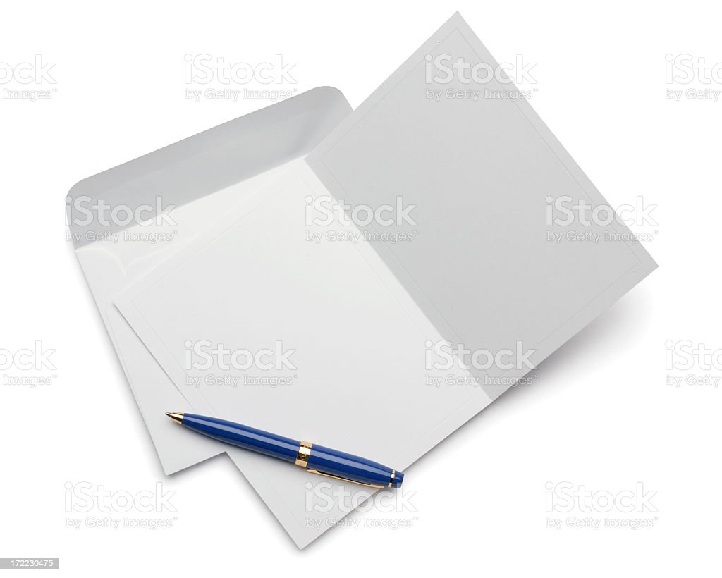 Blank Invitation or Note Card Isolated on White royalty-free stock photo