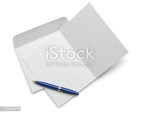 A blank invitation or note card on white with soft shadow