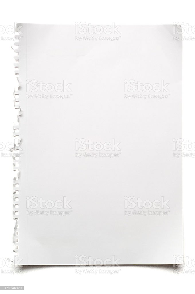 Blank isolated sheet of white paper stock photo