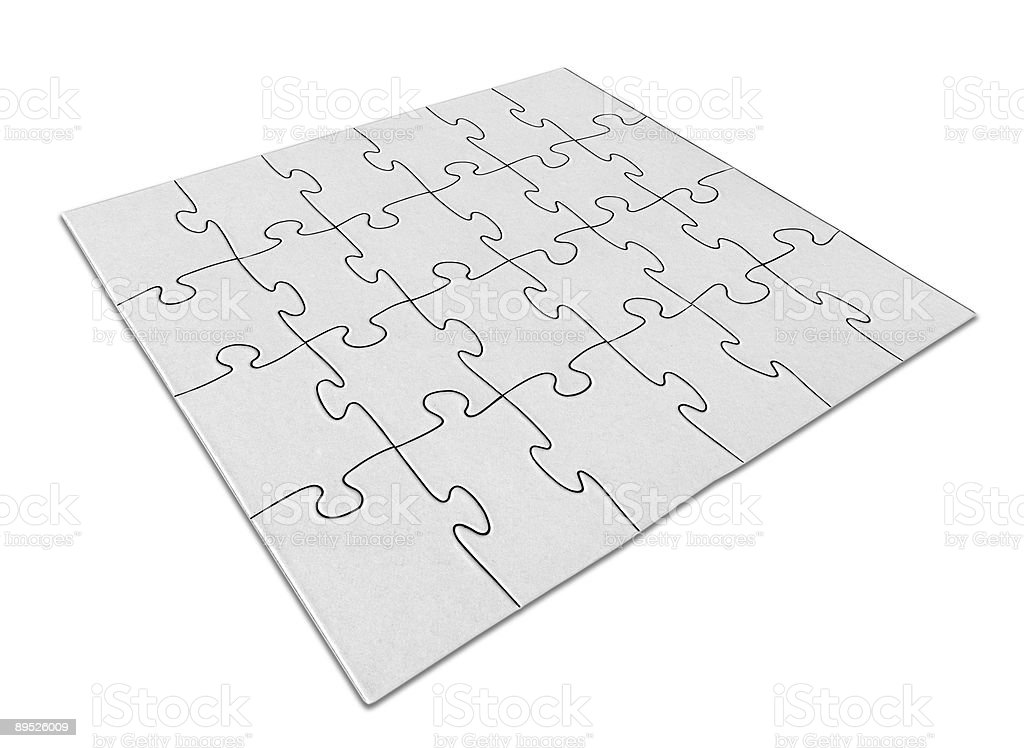 Blank Jigsaw Puzzle Angled Perspective royalty-free stock photo
