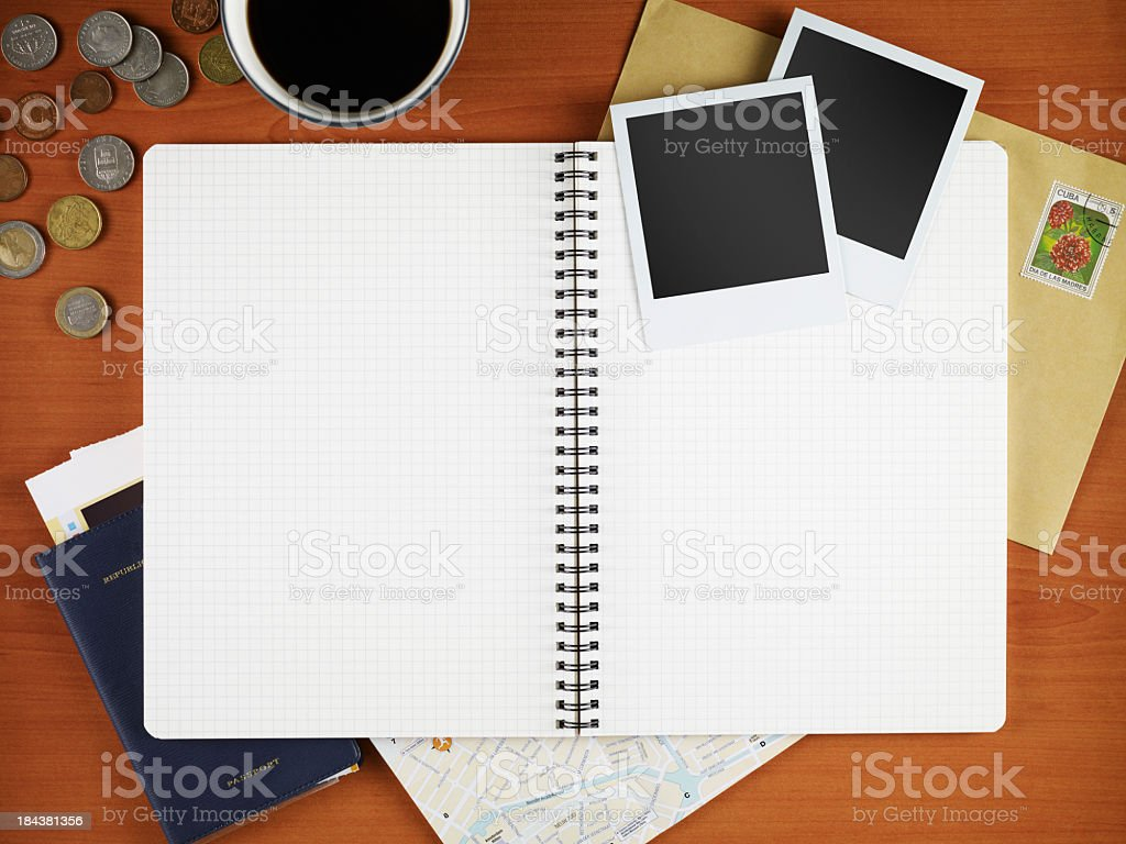 Blank Journal, Blank Polaroid, Stamped Envelope and coins royalty-free stock photo