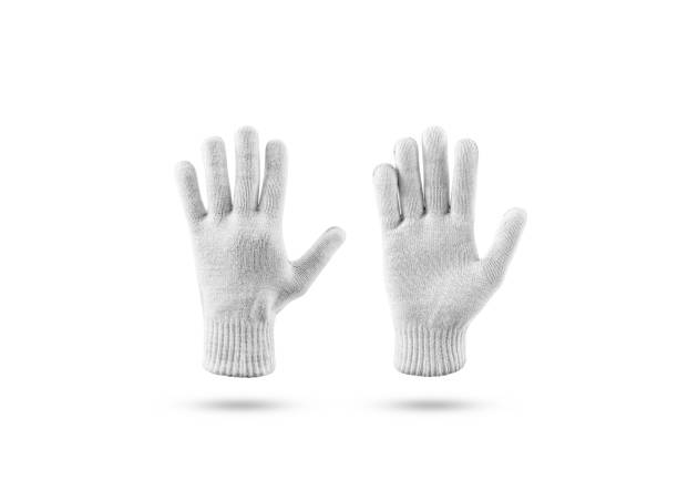 Blank knitted winter gloves mock up set, front back side stock photo