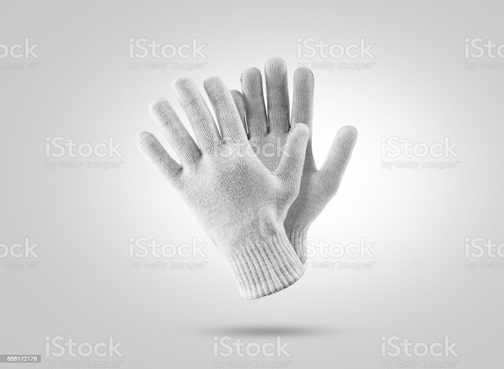 Blank knitted winter gloves mockup. Clear ski or snowboard mittens stock photo
