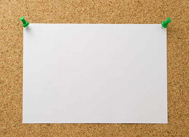 blank label on cork board - bulletin board stock pictures, royalty-free photos & images