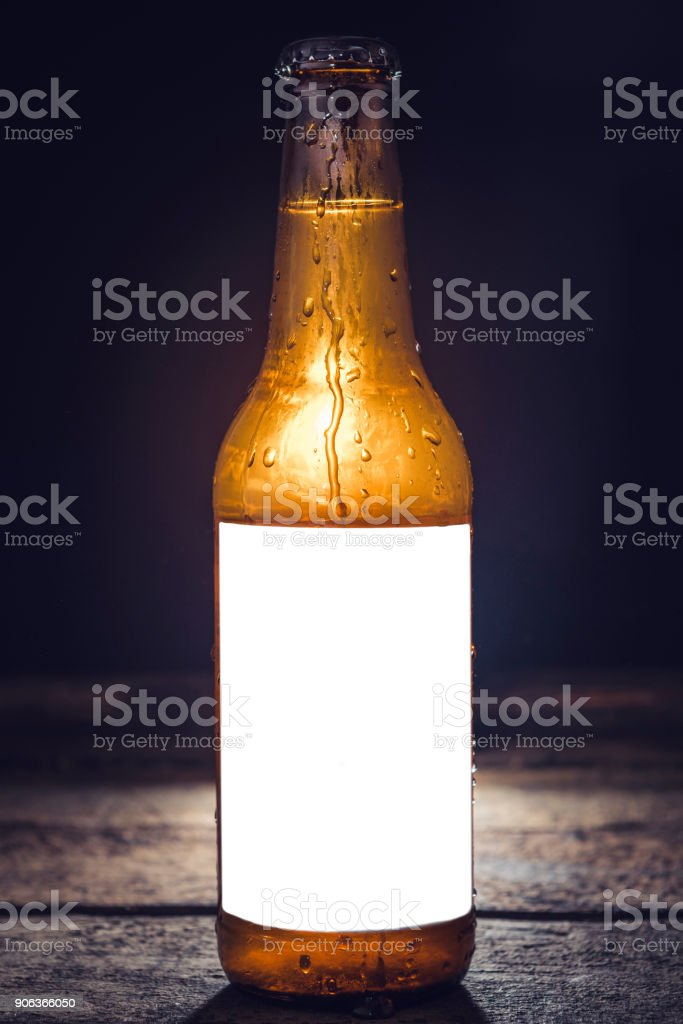 Blank label on the beer bottle stock photo