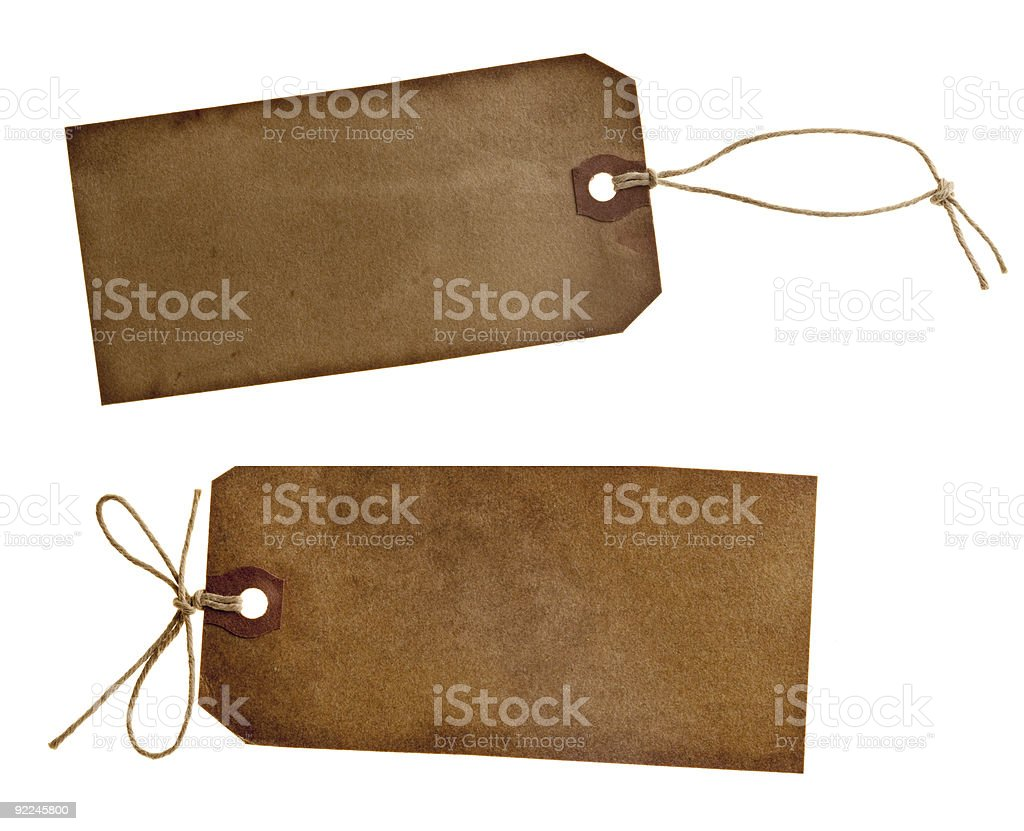 blank label vintage grunge paper tags isolated over white string royalty-free stock photo