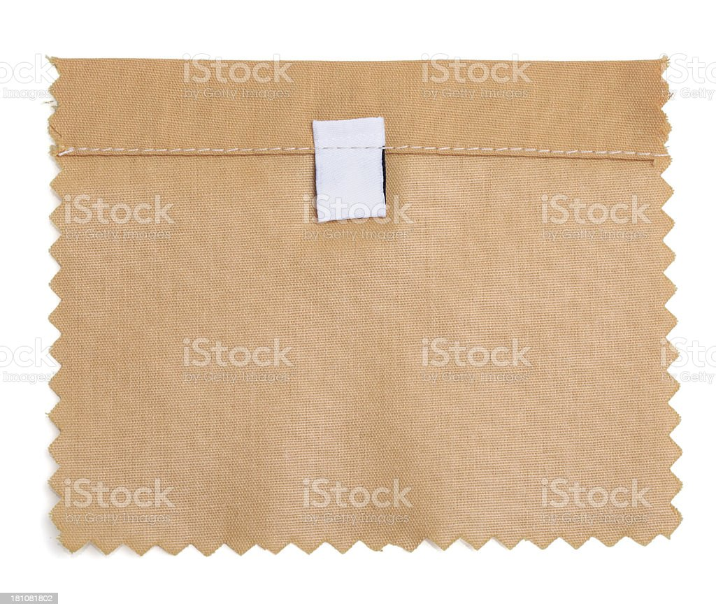 Blank Labeled Brown Fabric Swatch royalty-free stock photo