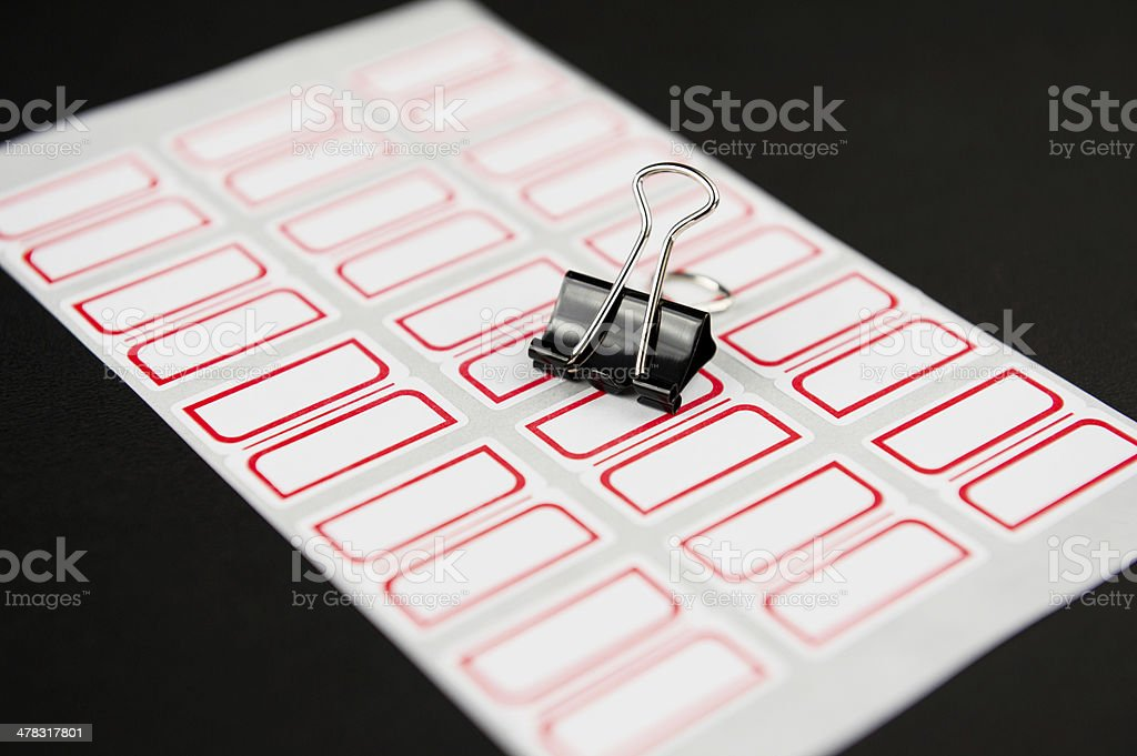 Blank Labels and Metal Clip stock photo