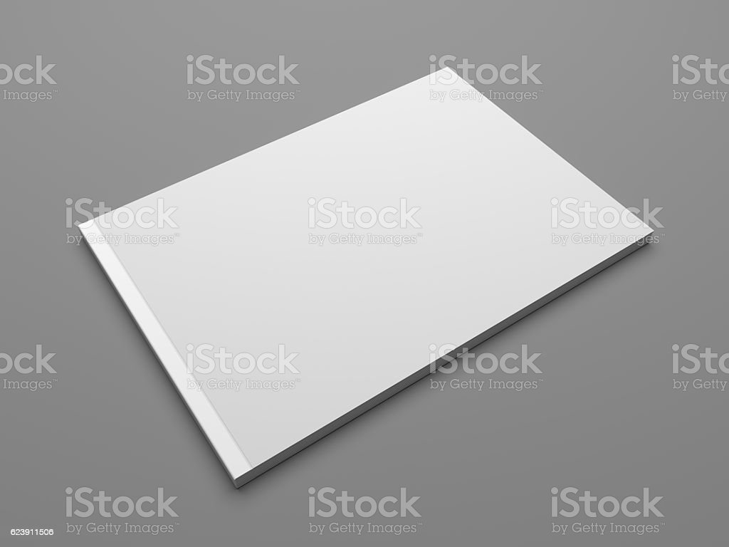 Blank landscape format 3D illustration brochure mock up stock photo