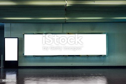 istock Blank large billboard with digital mock-up signboard 969403110