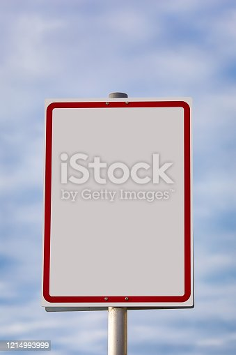 rectangular sign with red frame with plenty of space for text