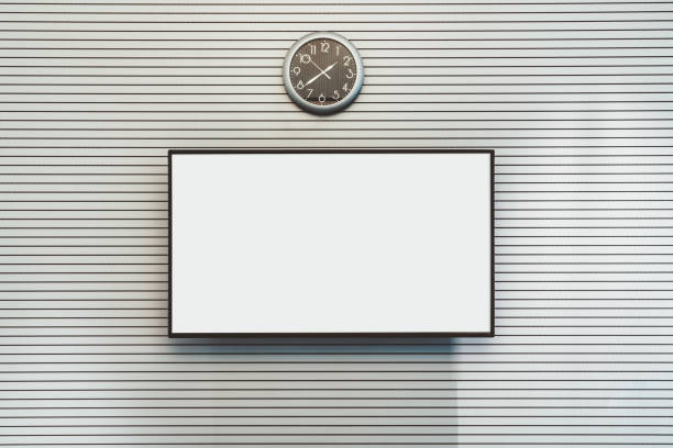 Blank LCD screen mock-up on the wall stock photo