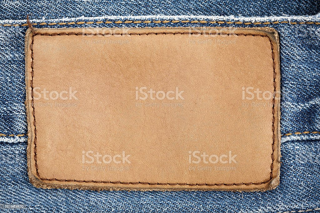 Blank leather jeans label stock photo