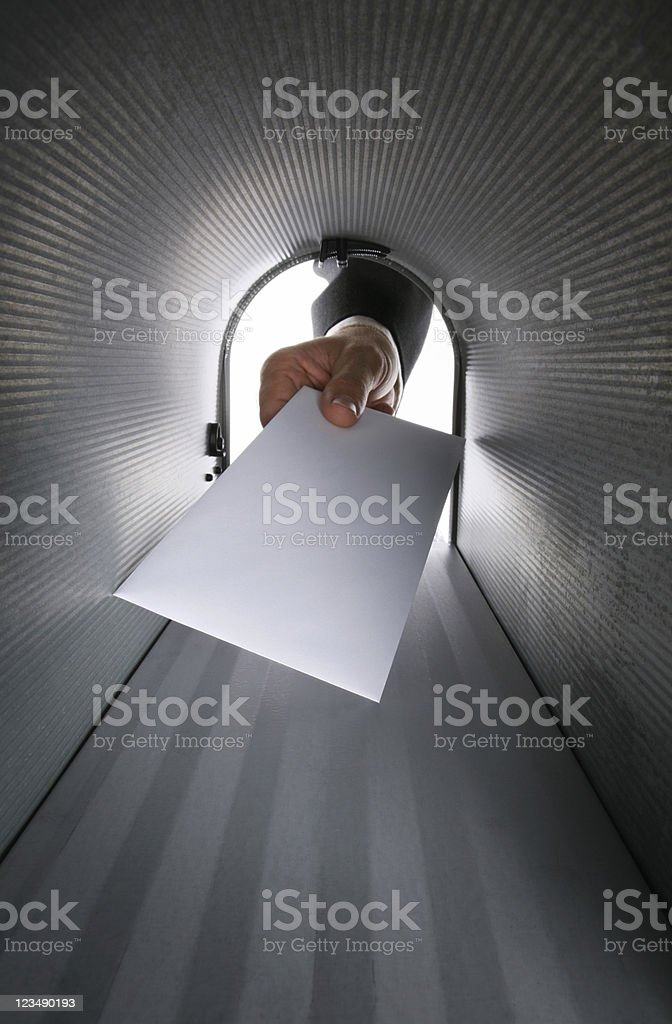 Blank Letter in a Mailbox stock photo