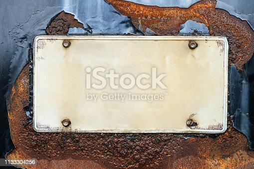 istock Blank license plate 1133304256