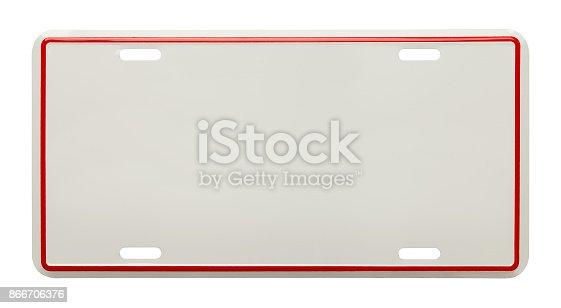 istock Blank License Plate 866706376