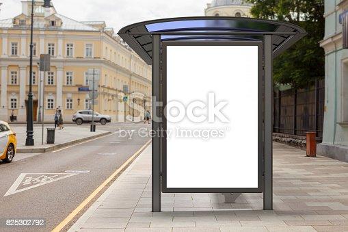 istock Blank light box billboard mockup 825302792