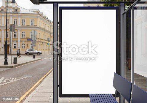 istock Blank light box billboard mockup 825302950