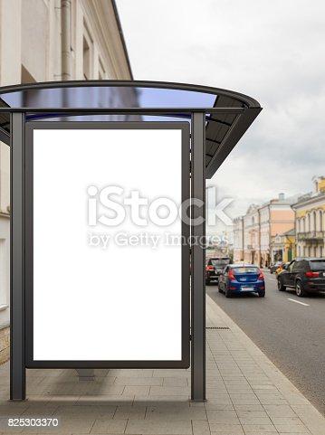 istock Blank light box billboard mockup 825303370