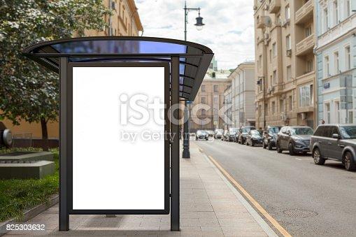 istock Blank light box billboard mockup 825303632