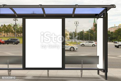 istock Blank light box billboard mockup 825303810