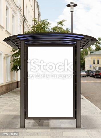 istock Blank light box billboard mockup 825305958