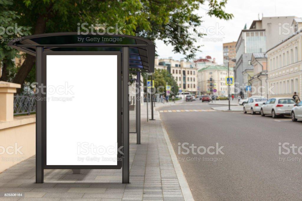 Blank light box billboard mockup stock photo