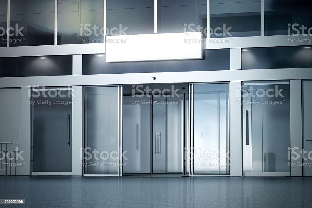 Blank light box on the store with opened entrance mockup stock photo