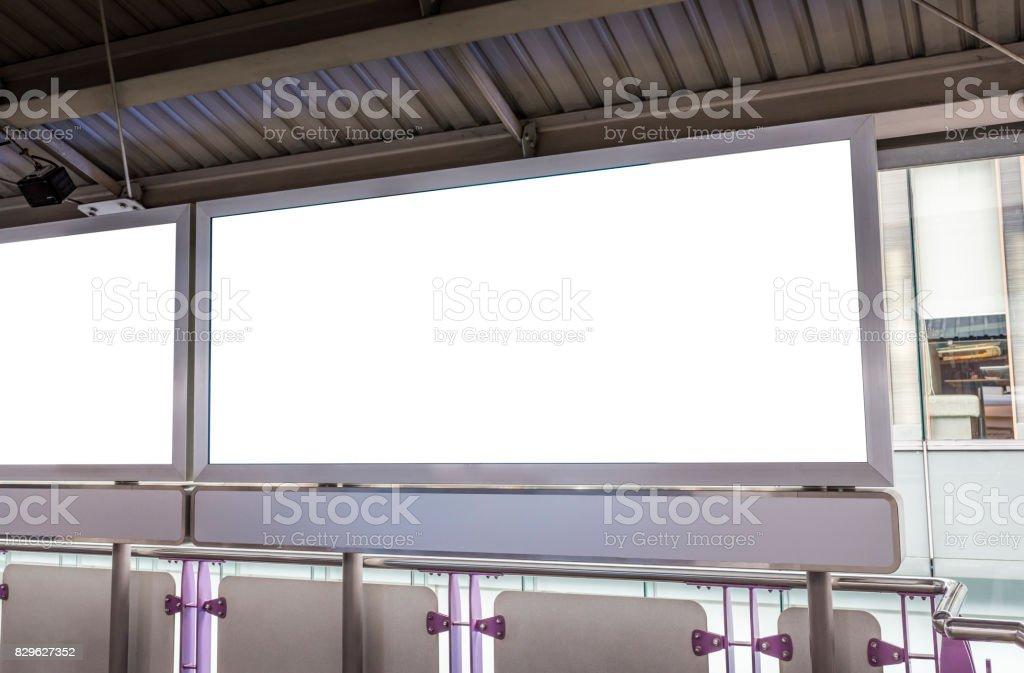 Blank light box poster stock photo