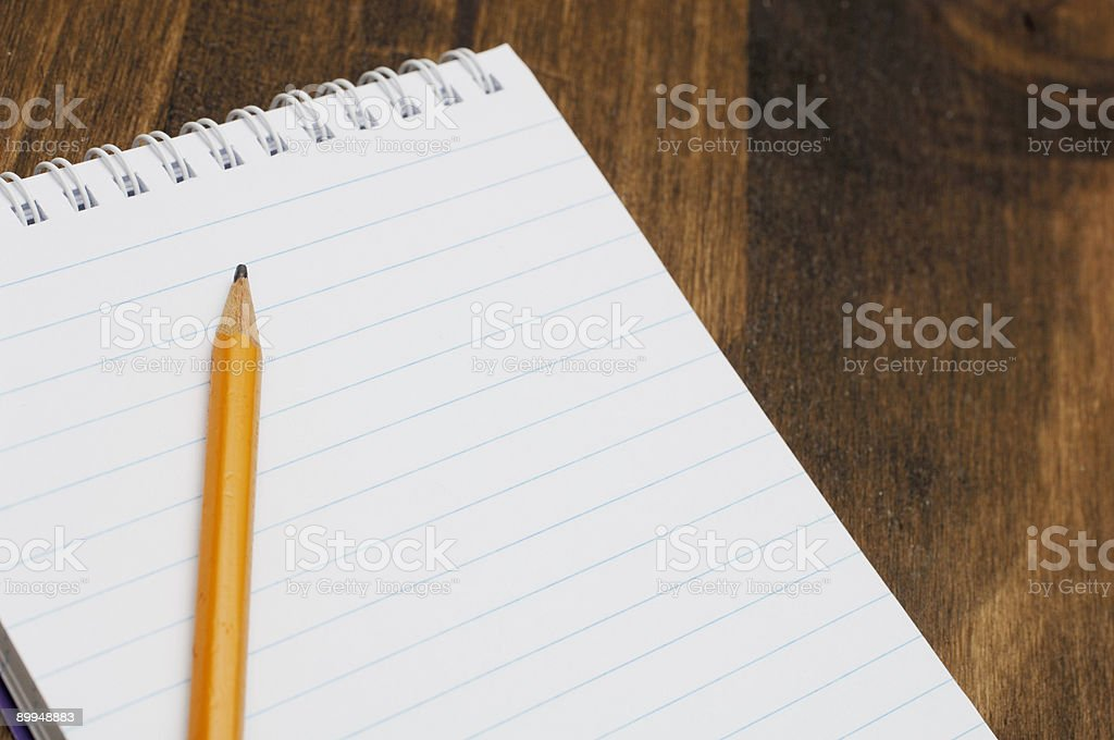 Blank lined notepad & pencil, add message royalty-free stock photo