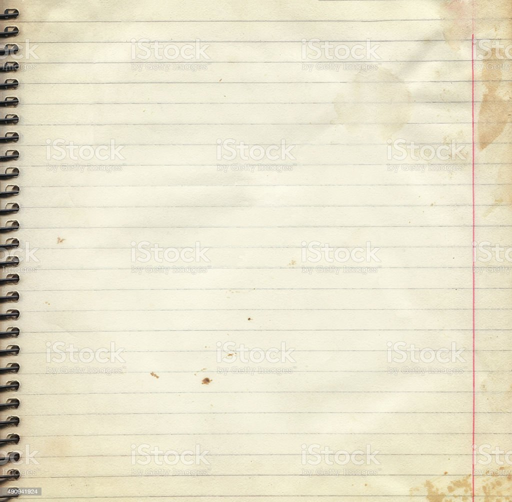 Page: Blank Lined Paper Page From Old Spiral Notebook Stock