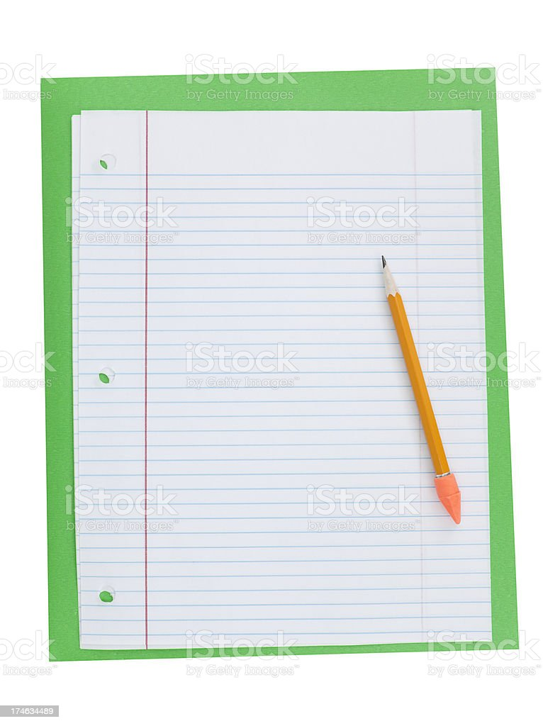 Blank Lined Paper with Pencil stock photo