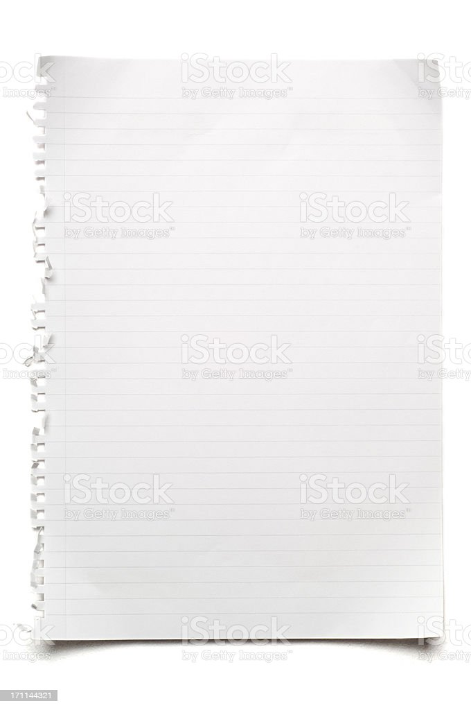 Blank lined sheet of paper on white stock photo