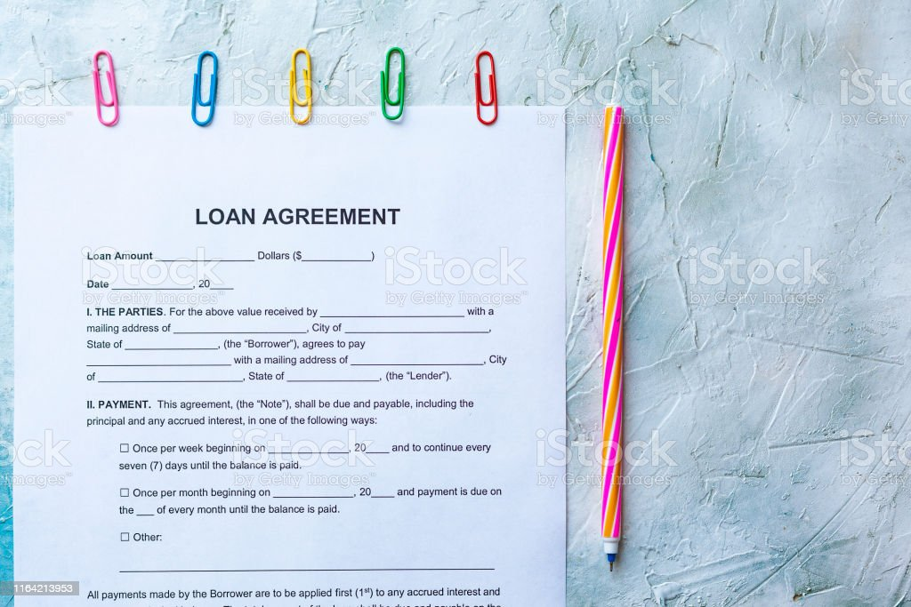 Filling Blank Loan Agreement Form. Top view