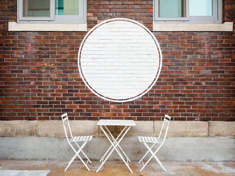 Blank logo white Sign Cafe shop front display Brick wall