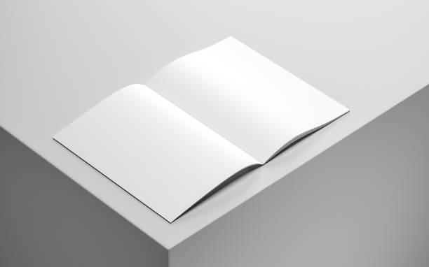 leeres magazin, album oder buch-mock-up - zeitschrift aufgeschlagen stock-fotos und bilder
