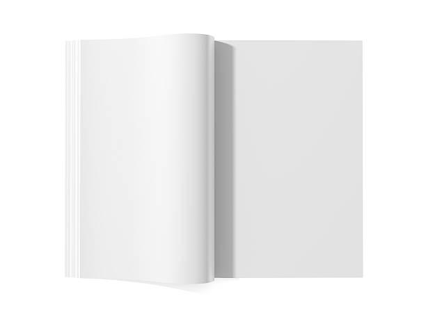 leere magazin buchen - zeitschrift aufgeschlagen stock-fotos und bilder